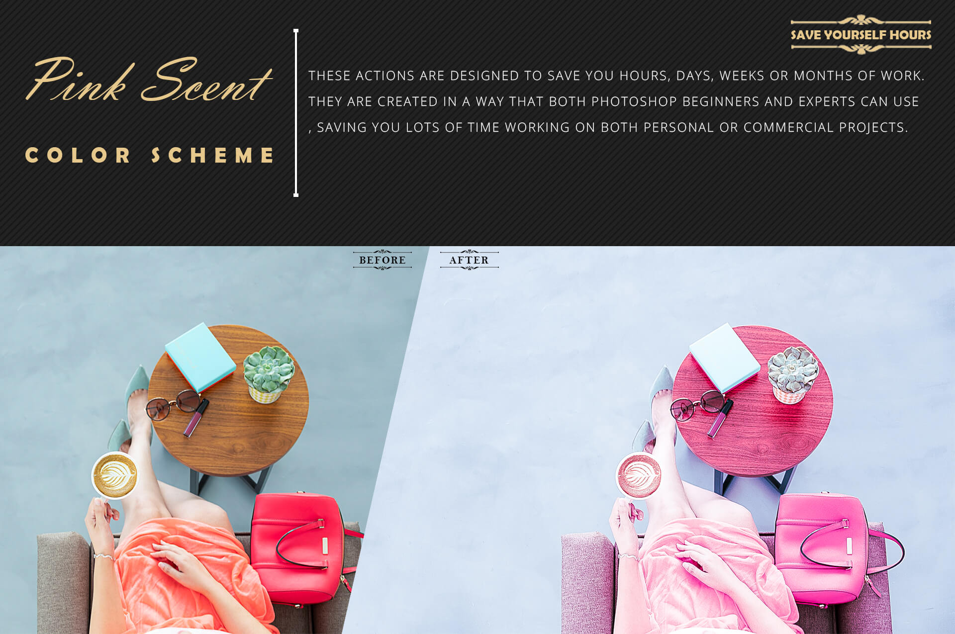 Neo Pink Scent Color Grading photoshop actions example image 7