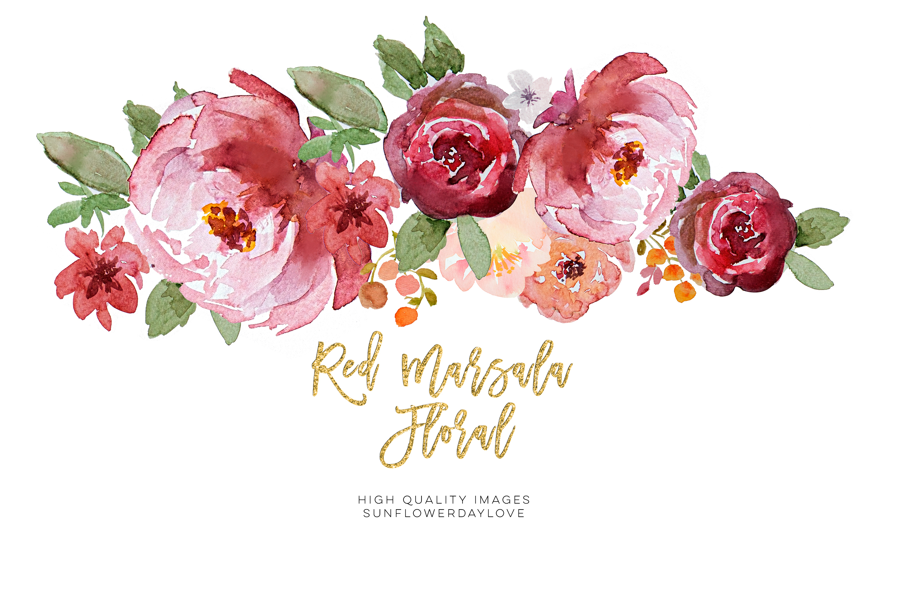 Red marsala floral watercolor clipart example image 2