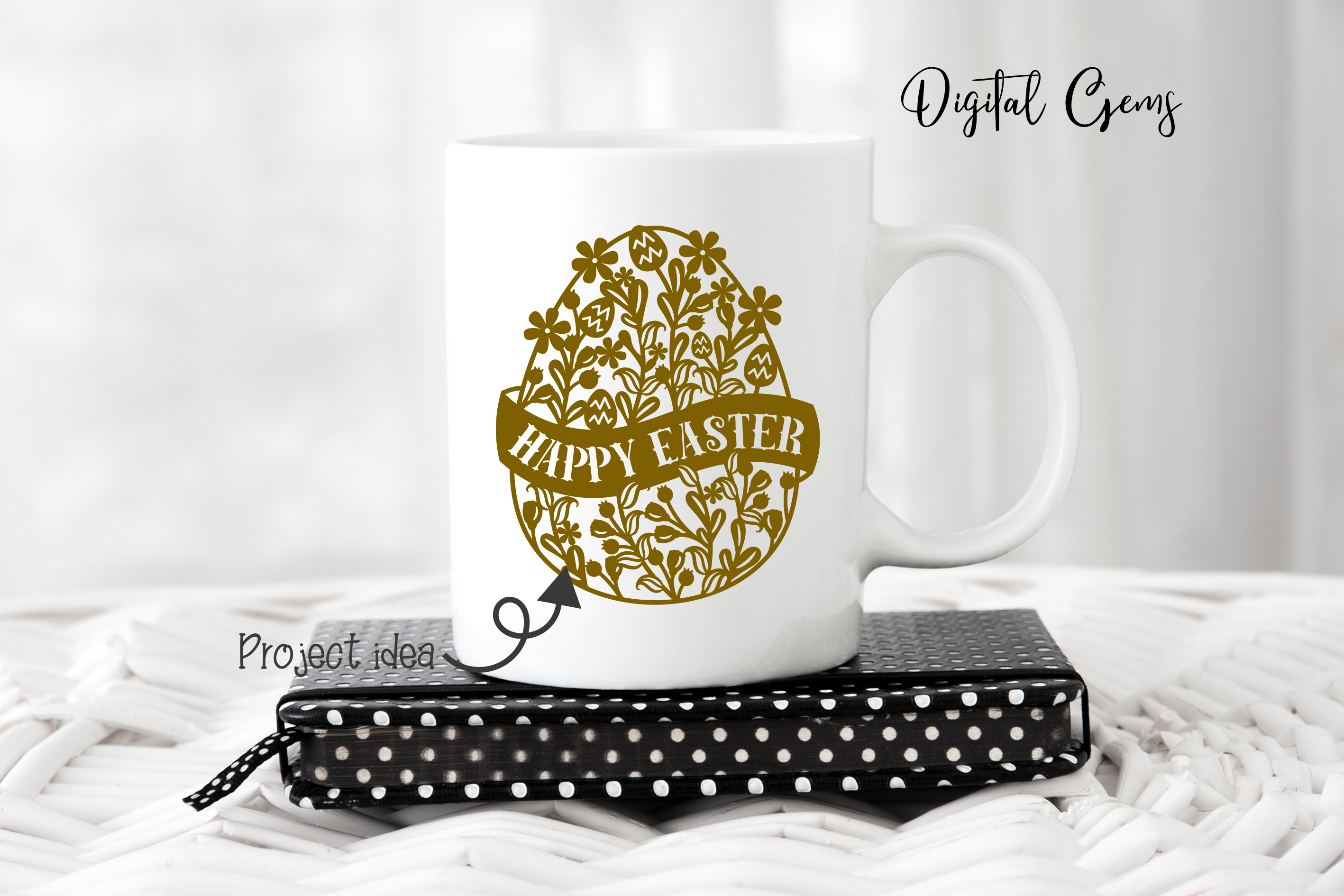Happy Easter, Egg paper cut SVG / DXF / EPS / PNG files example image 6