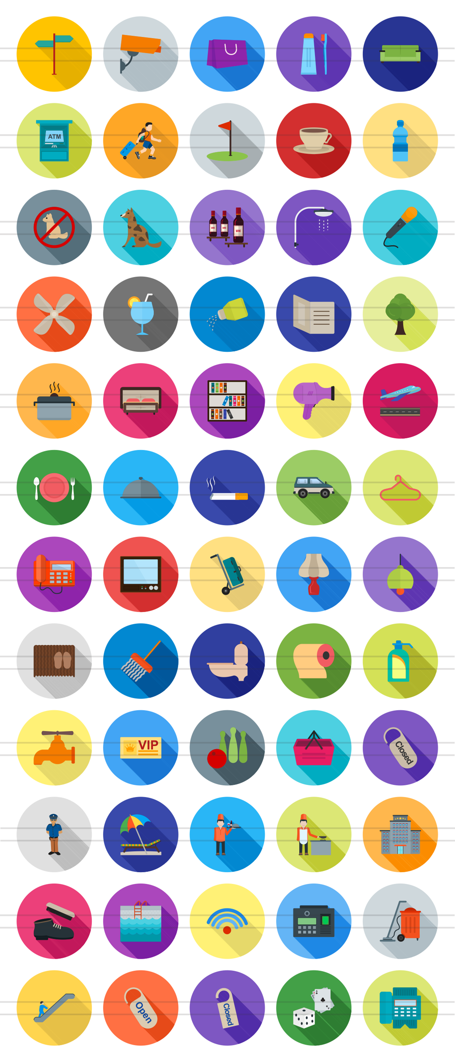 60 Hotel & Restaurant Flat Long Shadow Icons example image 2