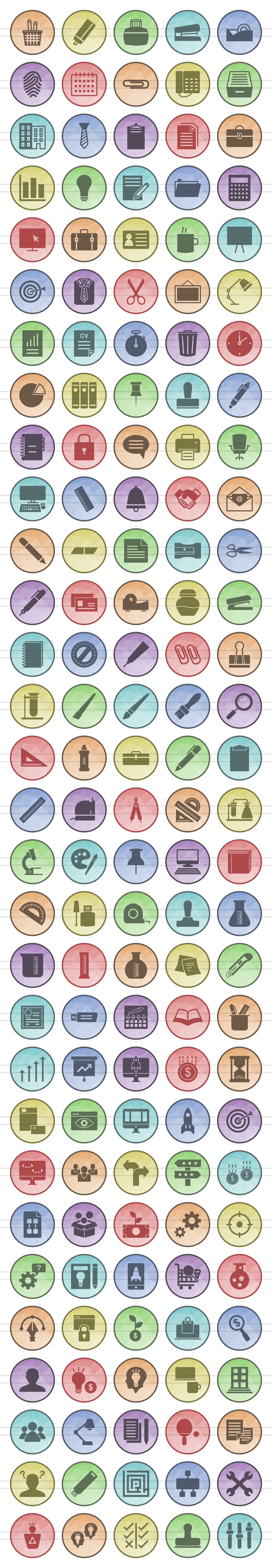 150 Office & Stationery Filled Low Poly Icons example image 2