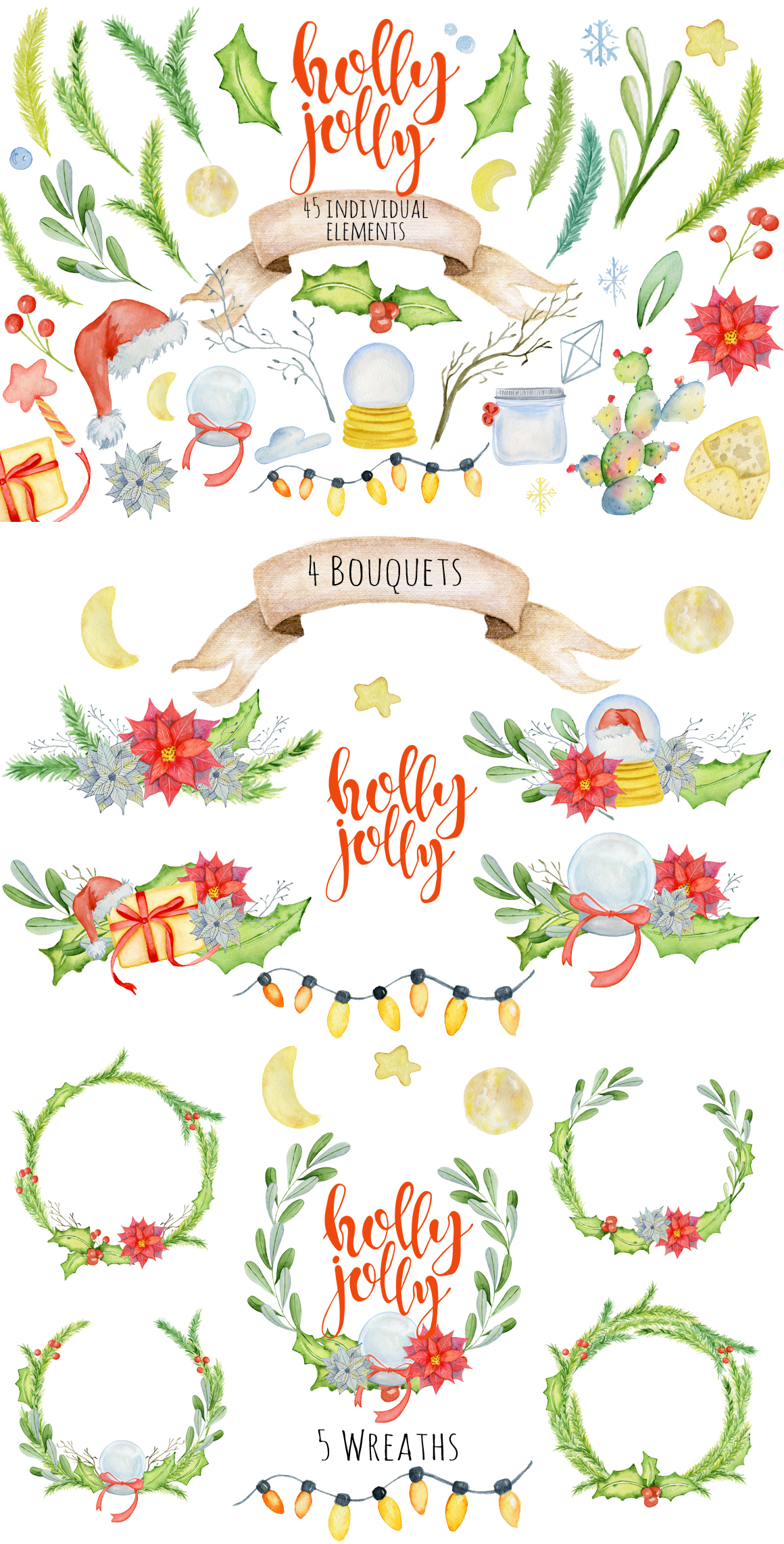 Magical Winter Bundle. Big Watercolor and lettering collection example image 14