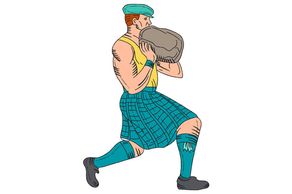 Stone Throw Highland Games Athlete Drawing example image 1