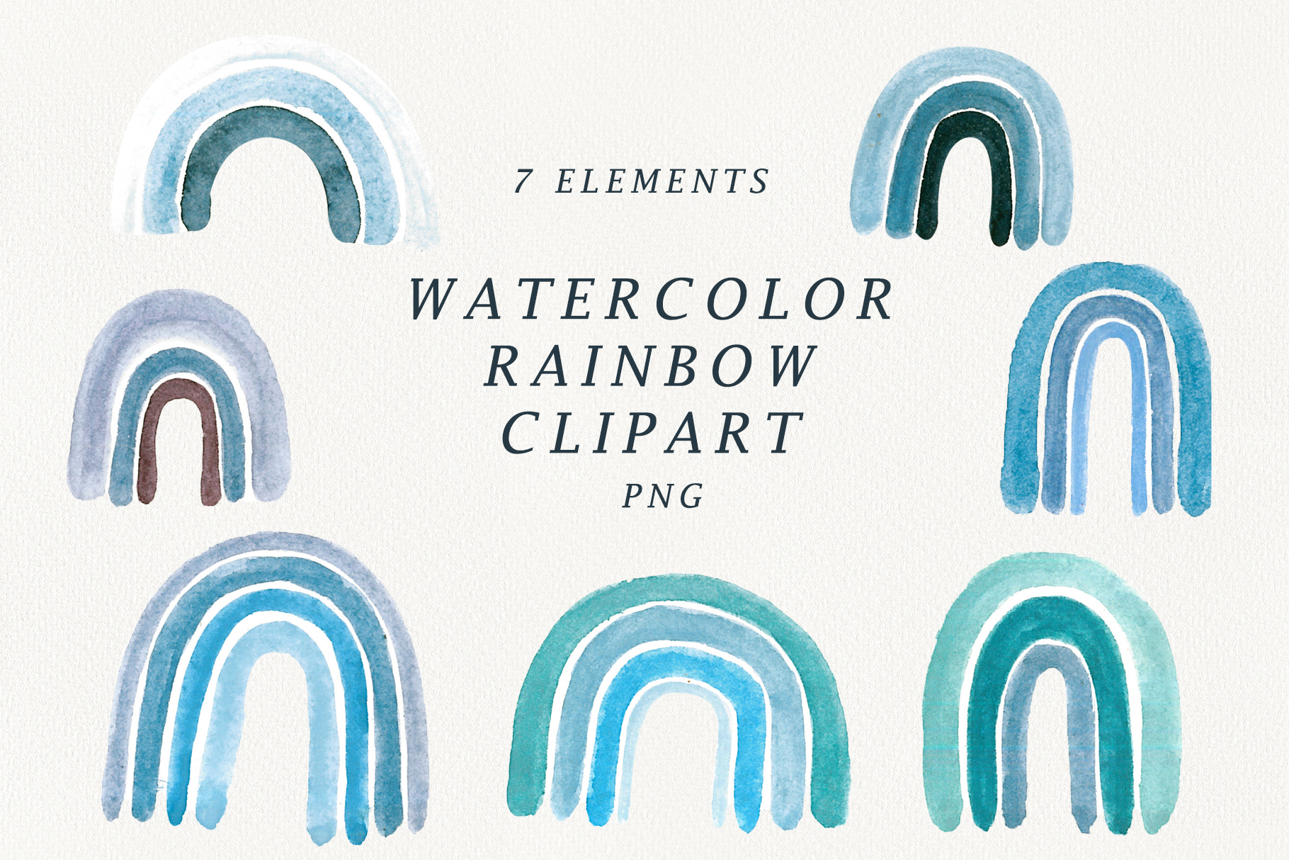 watercolor blue rainbow clipart. example image 1