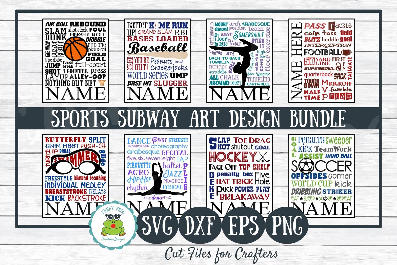 Sports Subway Art Design Bundle SVG Cut Files,PNG Printables example image 1