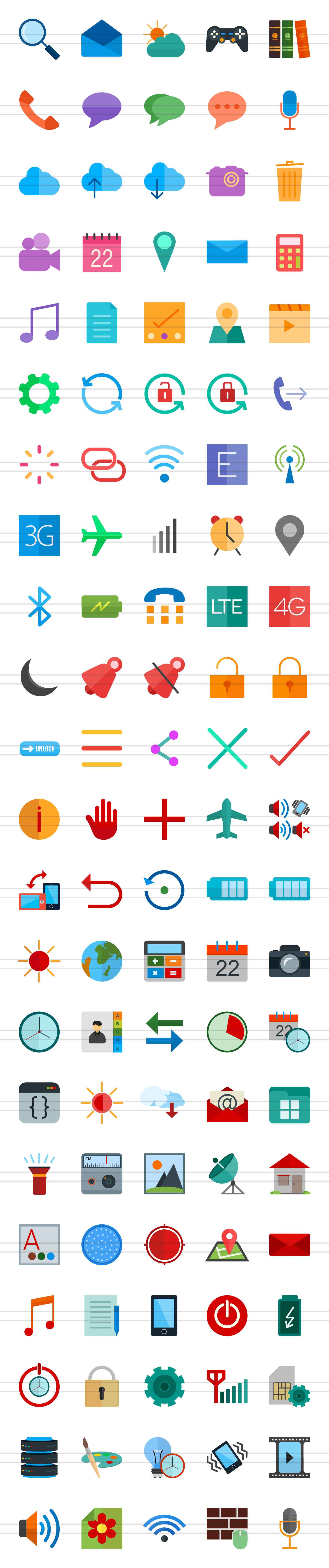 50 Smartphone Flat Multicolor Icons example image 2