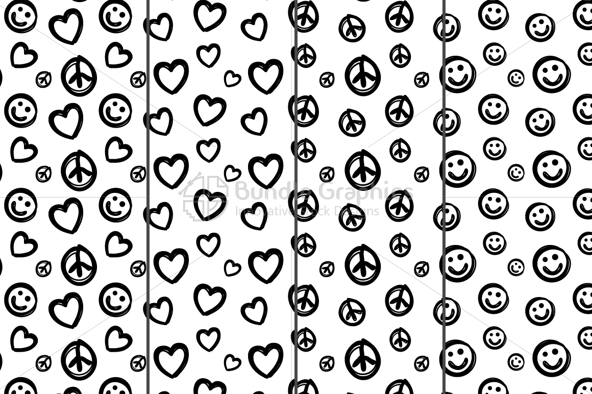 Freehand Style Love, Peace, Balance Pattern Set example image 4