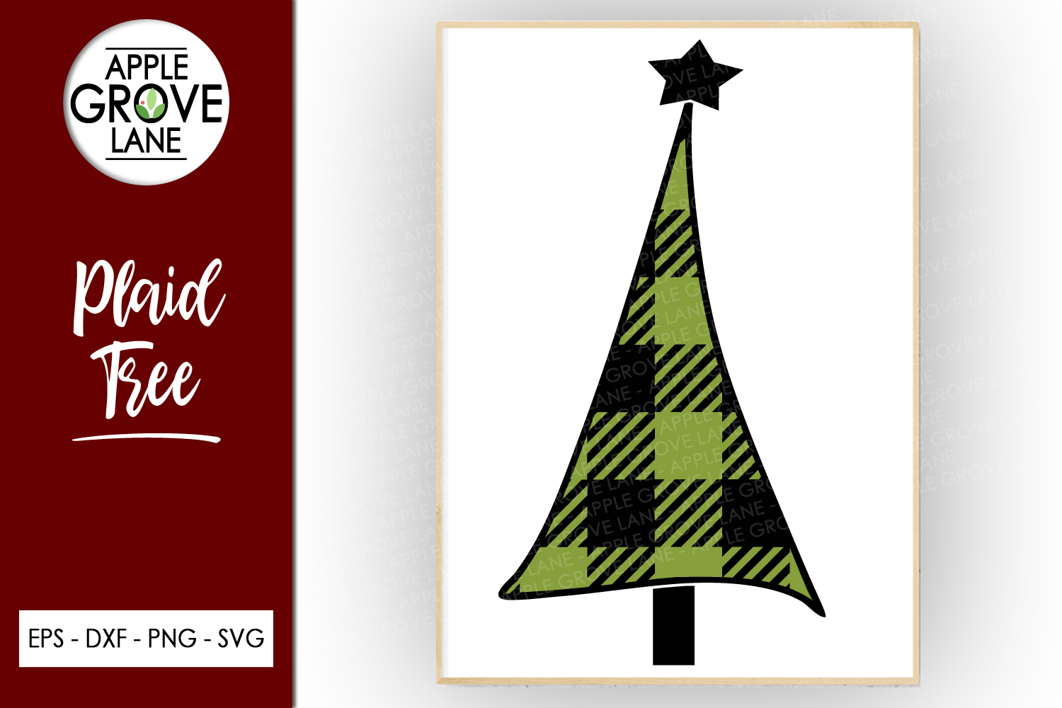 Plaid Tree Svg Cut File - Buffalo Check Tree Svg Dxf Eps Png example image 1