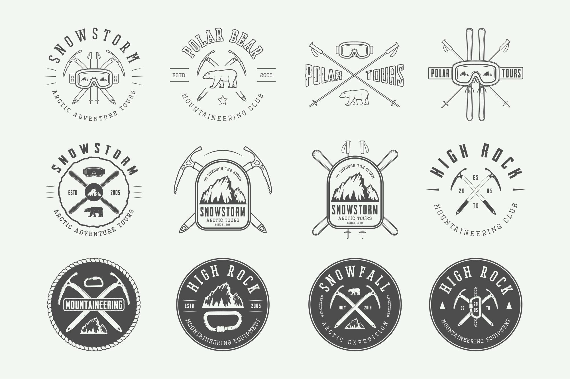 Winter vintage adventure emblems. example image 7