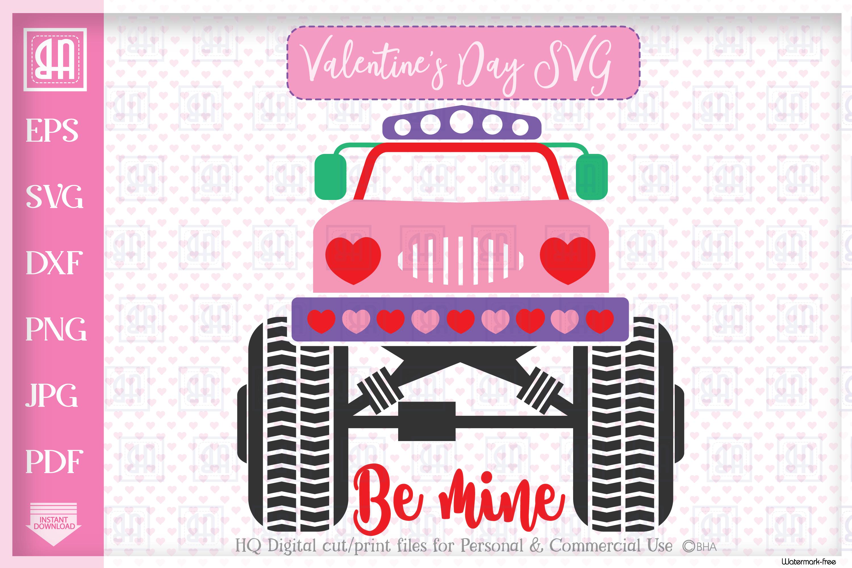 Valentine's day MonsterTruck svg, Valentine's truck svg example image 1