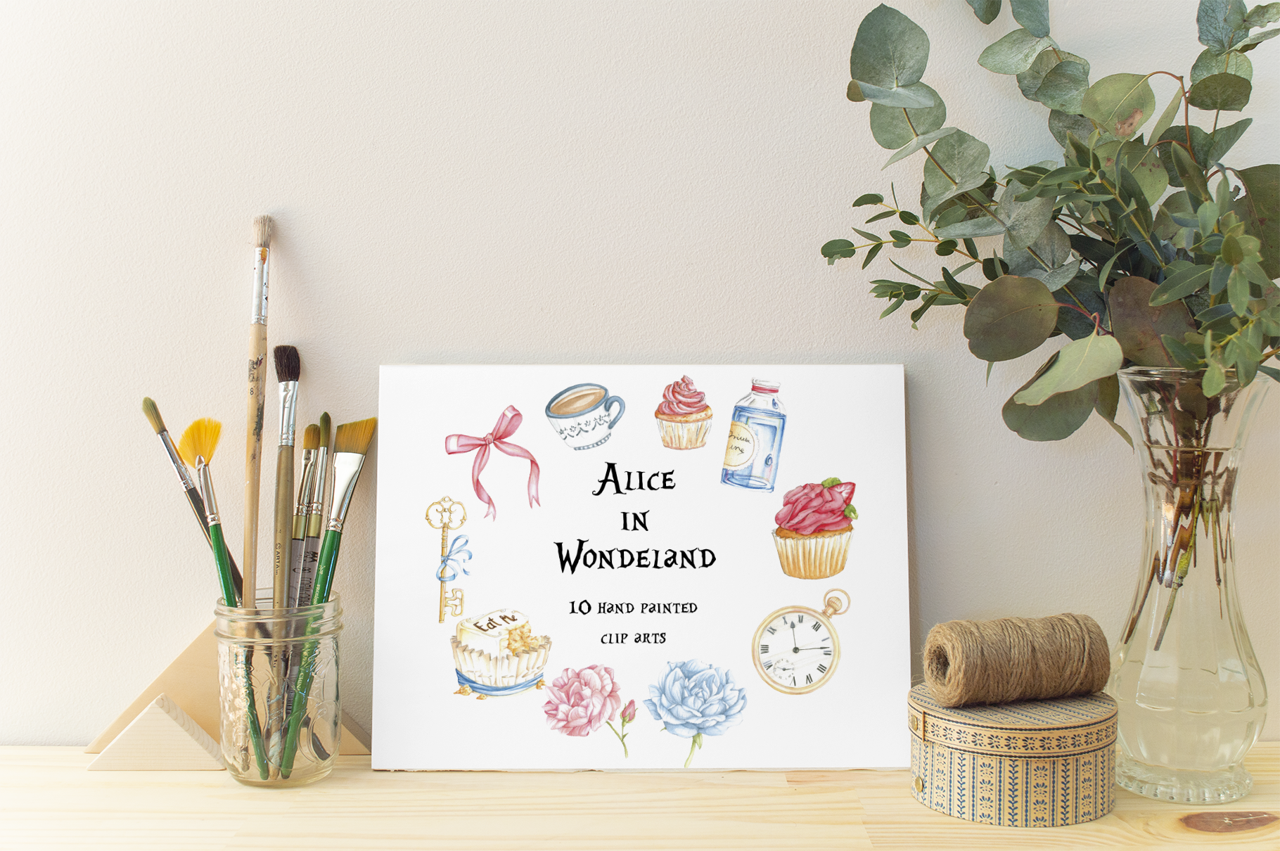Alice in Wonderland Watercolor Cliparts Illustrations example image 1