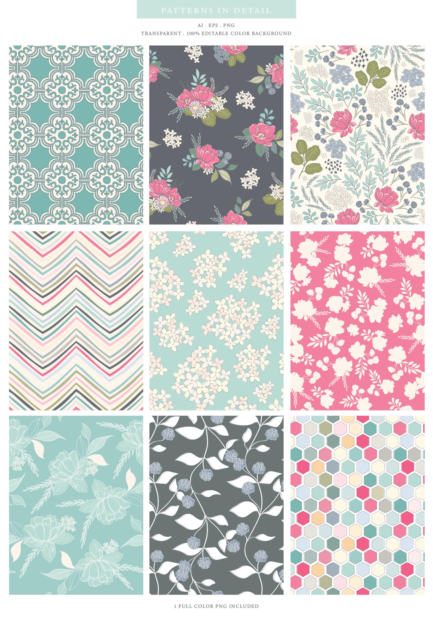 Floral Pattern Design Set example image 3