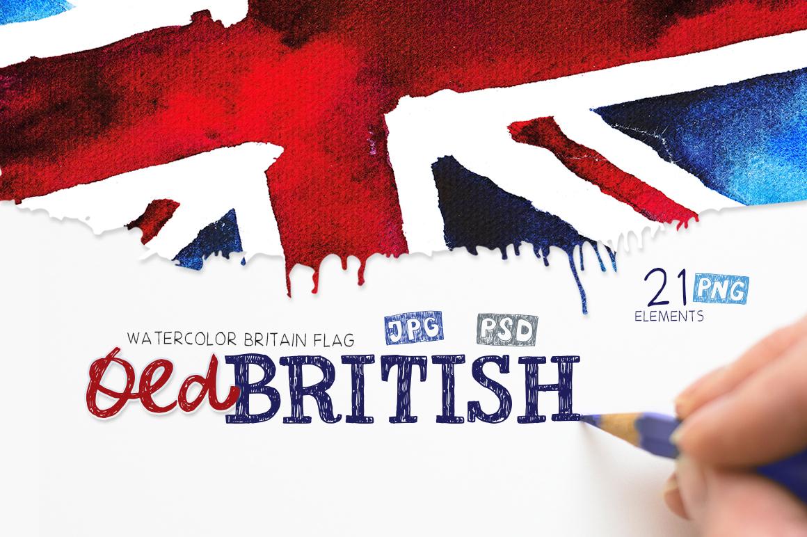 Old British. Watercolor britain flag. United Kingdom. example image 1