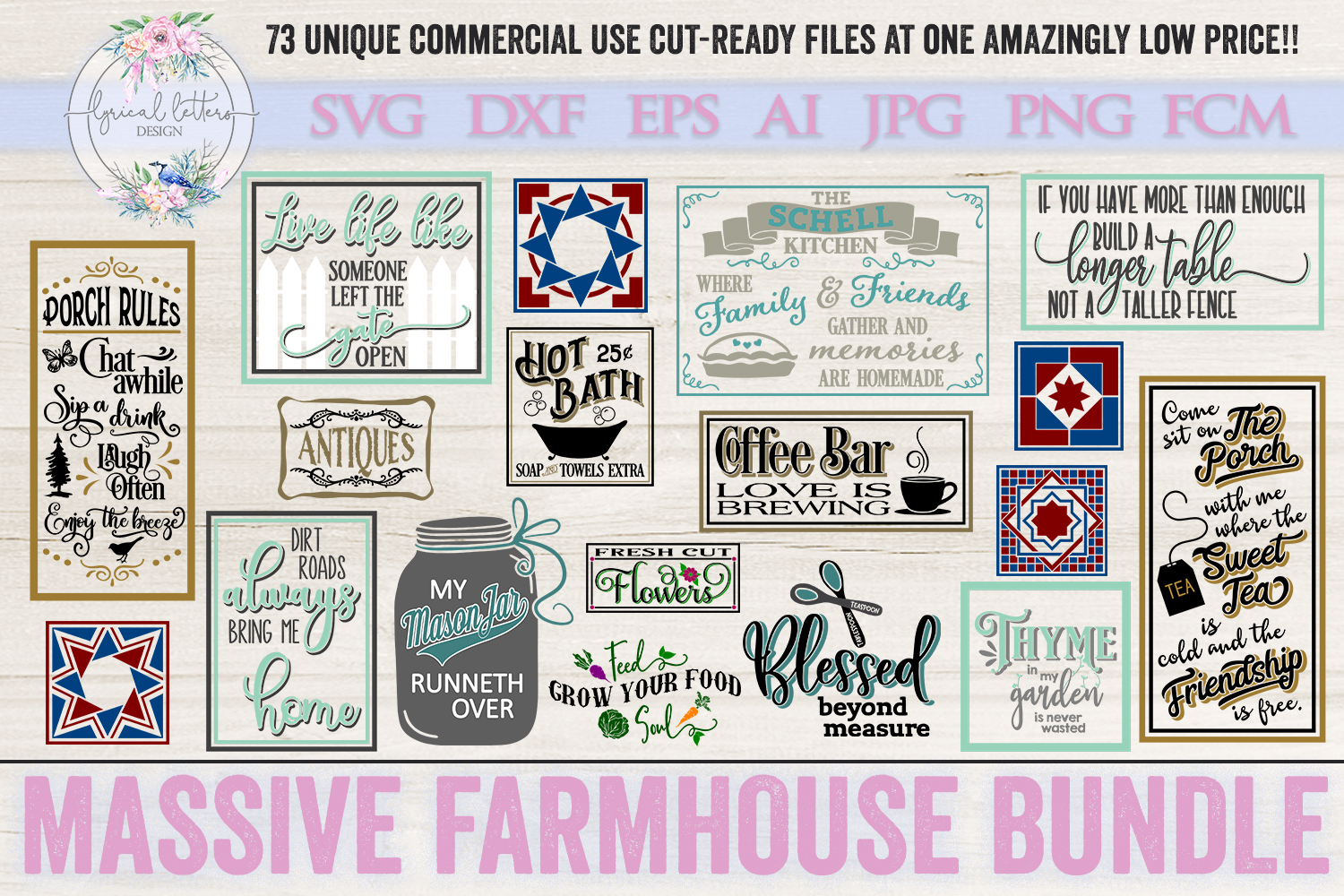 Farmhouse Bundle of 73 SVG DXF Cut File example image 4