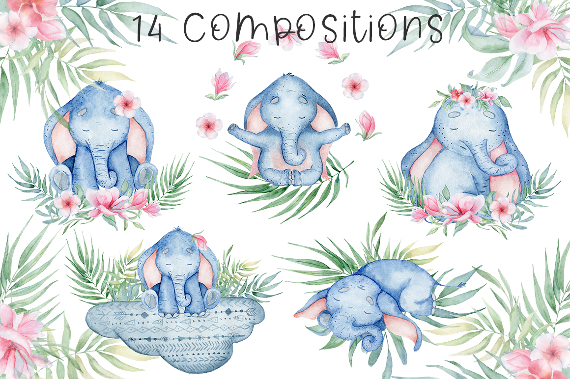 Lovely Elephants Watercolor set animals clipart example image 2