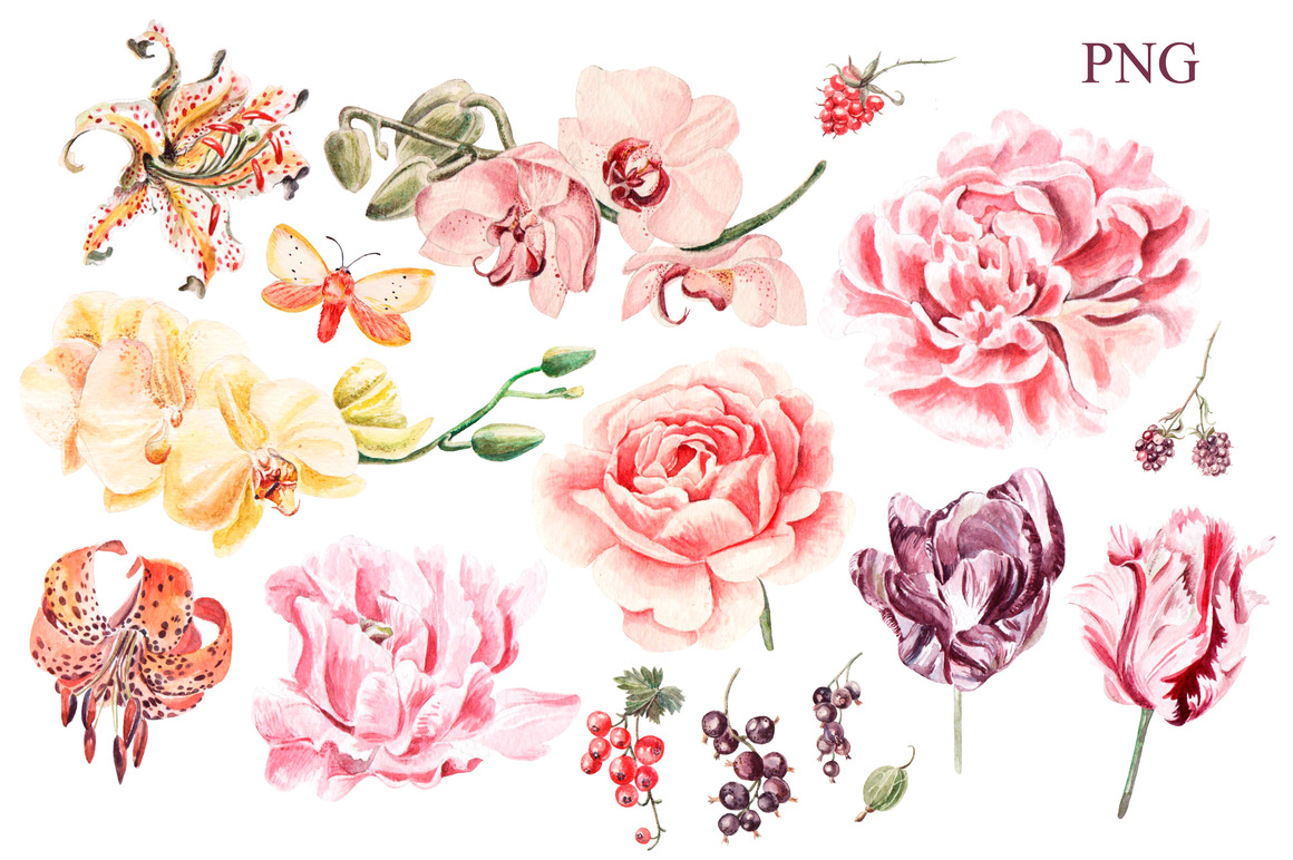 Beautiful watercolor flowers example image 2