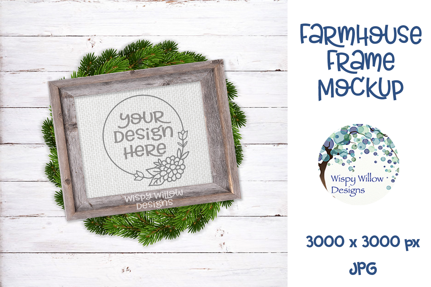 8x10 Horizontal Farmhouse Frame and Wreath Mockup example image 1