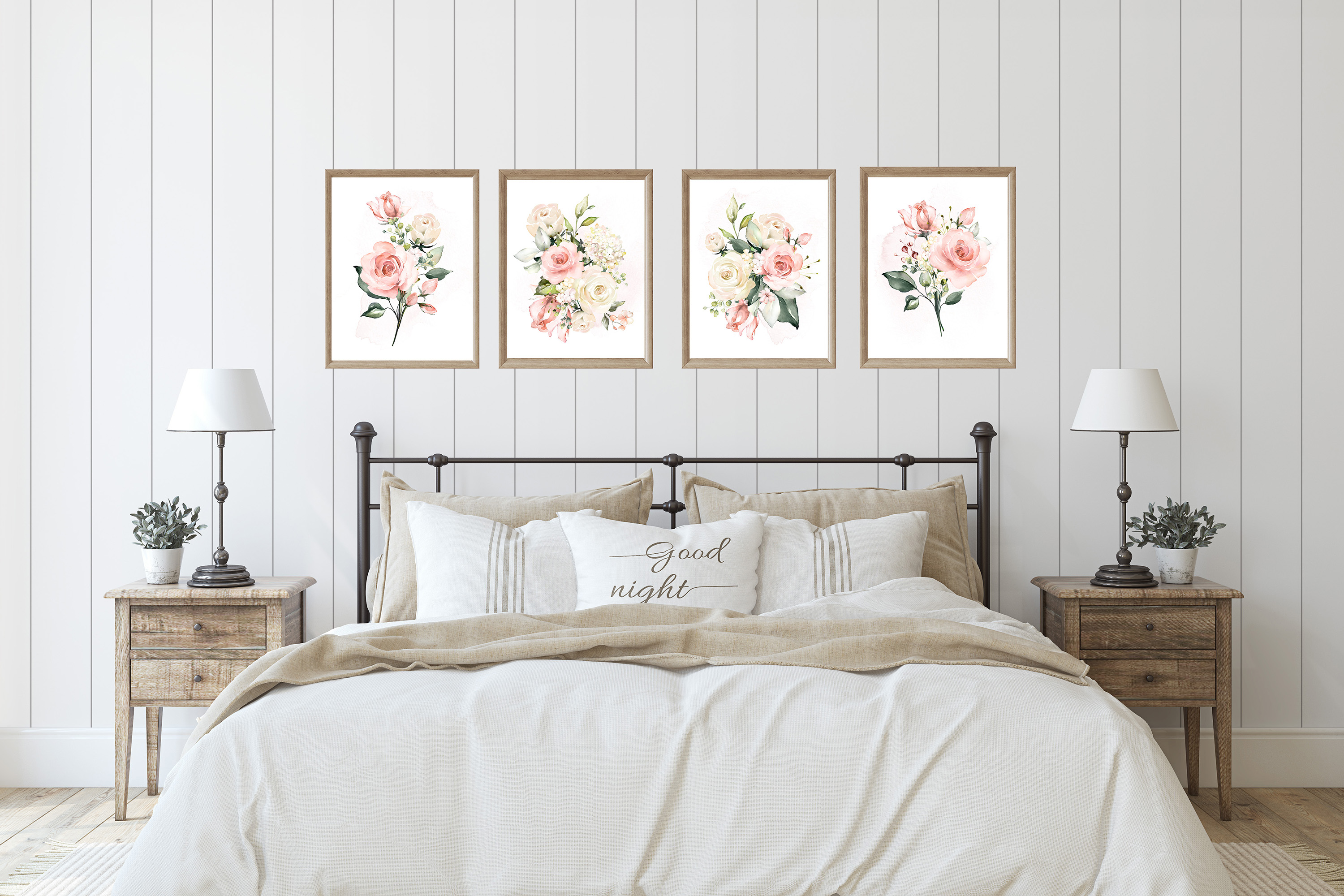 Watercolor Roses and Greenery Print Set of 4 Prints example image 2