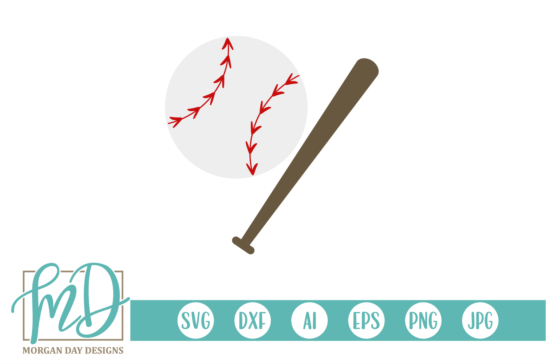 Baseball and Bat SVG, DXF, AI, EPS, PNG, JPEG example image 1