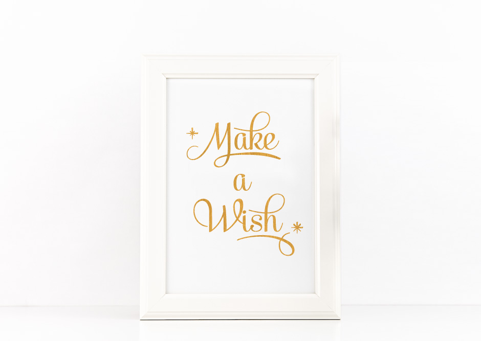 Make a Wish Poster Inspirational Quote to Print in Gold + SVG files example image 1