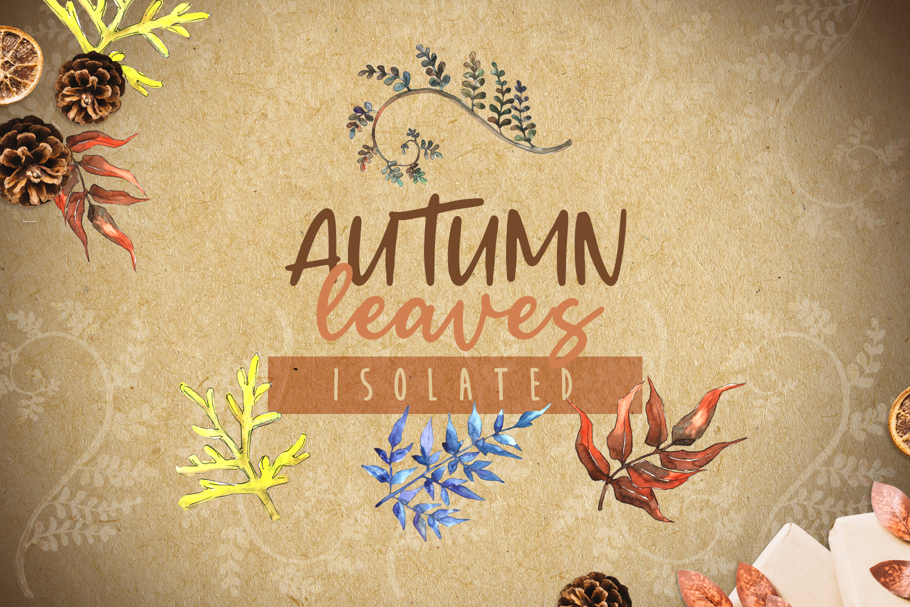 Watercolor autumn leaves png example image 5