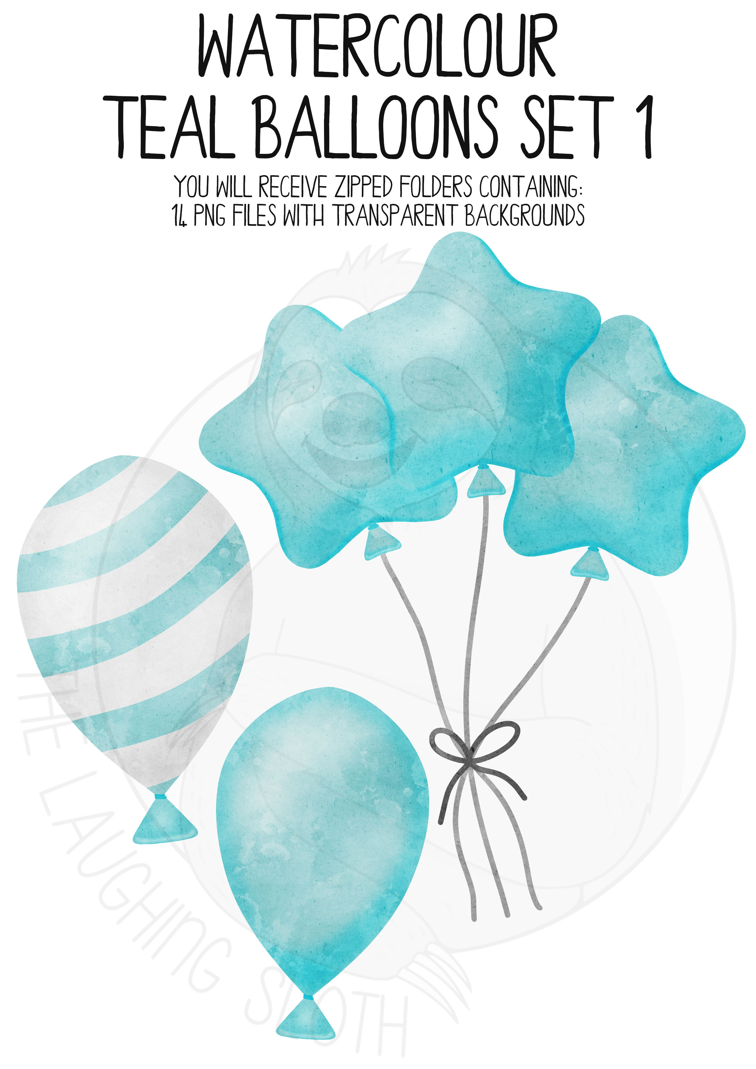 Teal Watercolor Balloon Clipart Set example image 4