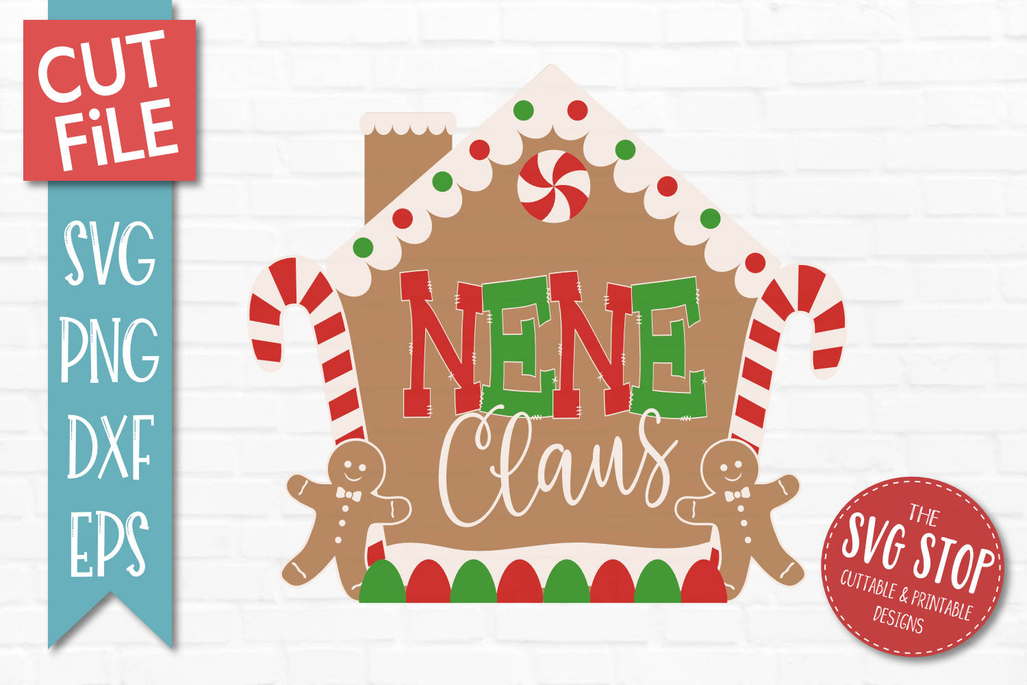 Nene Claus Gingerbread Christmas SVG, PNG, DXF, EPS example image 1