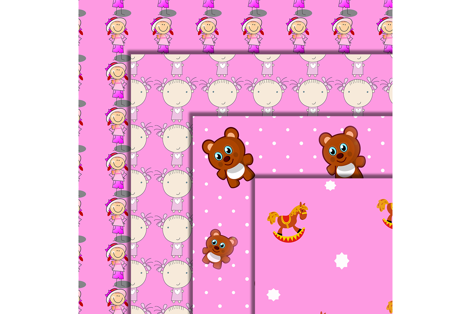 Baby Girls Paper, Girls Patterned, Pink Papers, Baby,50off example image 3