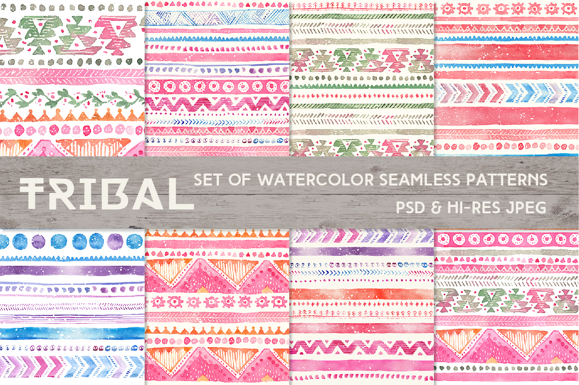 Tribal Watercolor Seamless Patterns example image 2