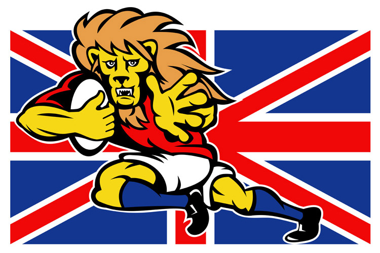 Cartoon British Lion rugby fending off GB flag example image 1