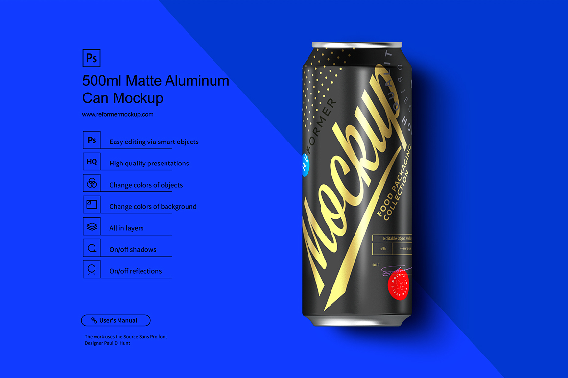 500ml Black Aluminum Can Mockup example image 3