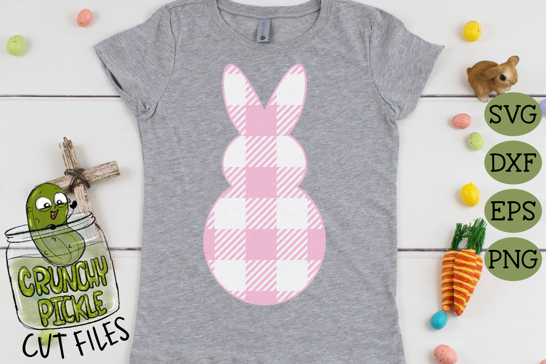 Plaid & Grunge Spring Easter Bunny 1 SVG Cut File example image 3