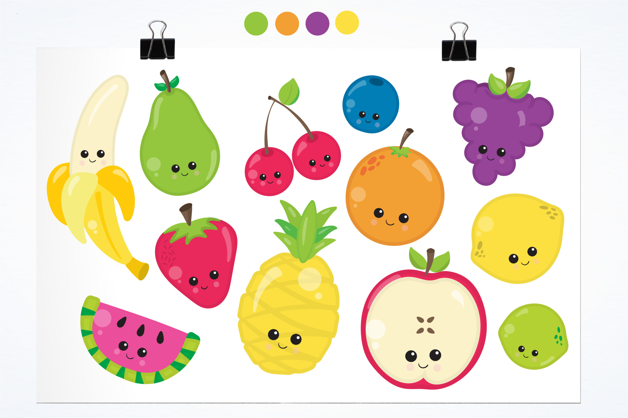 Kawaii Fruits  graphics and illustrations example image 2
