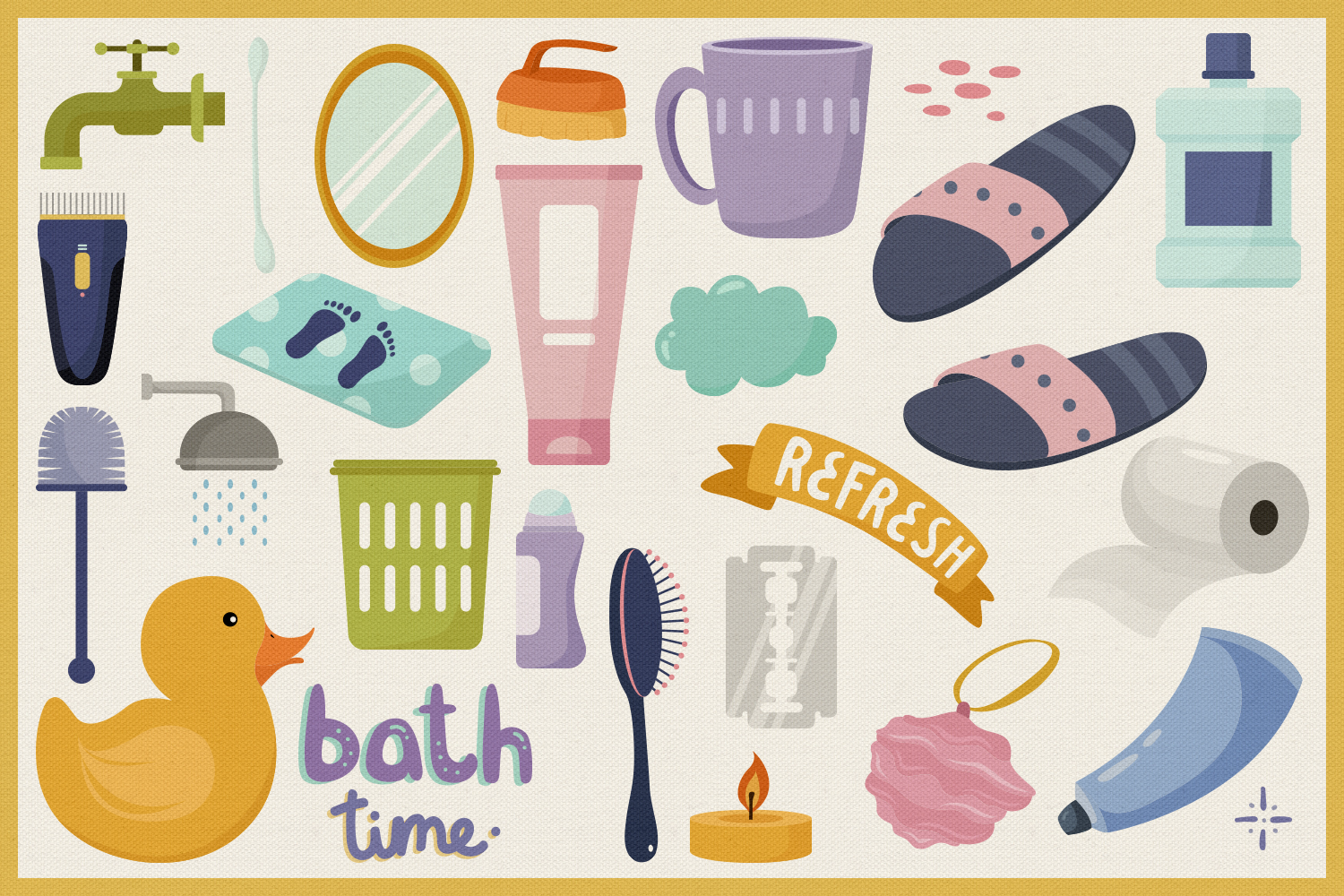 In The Bathroom Vector Clipart and Seamless Pattern example image 2