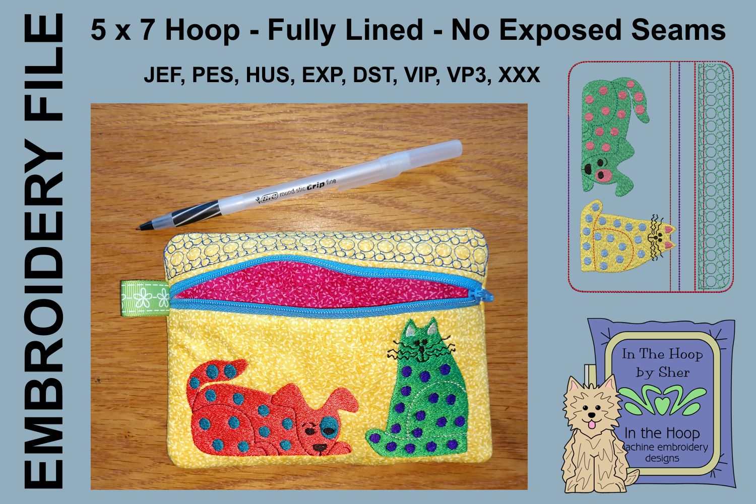 ITH Funky Cat & Dog Zipper Bag - Fully Lined, 5X7 HOOP example image 2