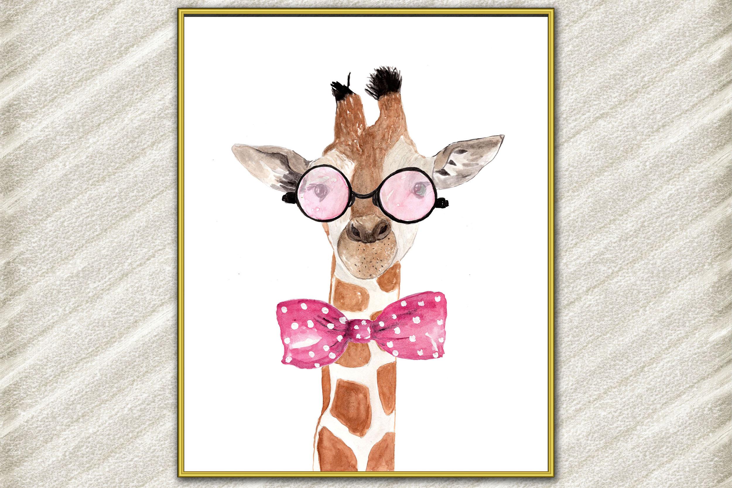 Giraffe Safari prints ,Funny animals,Giraffe with glasses example image 1