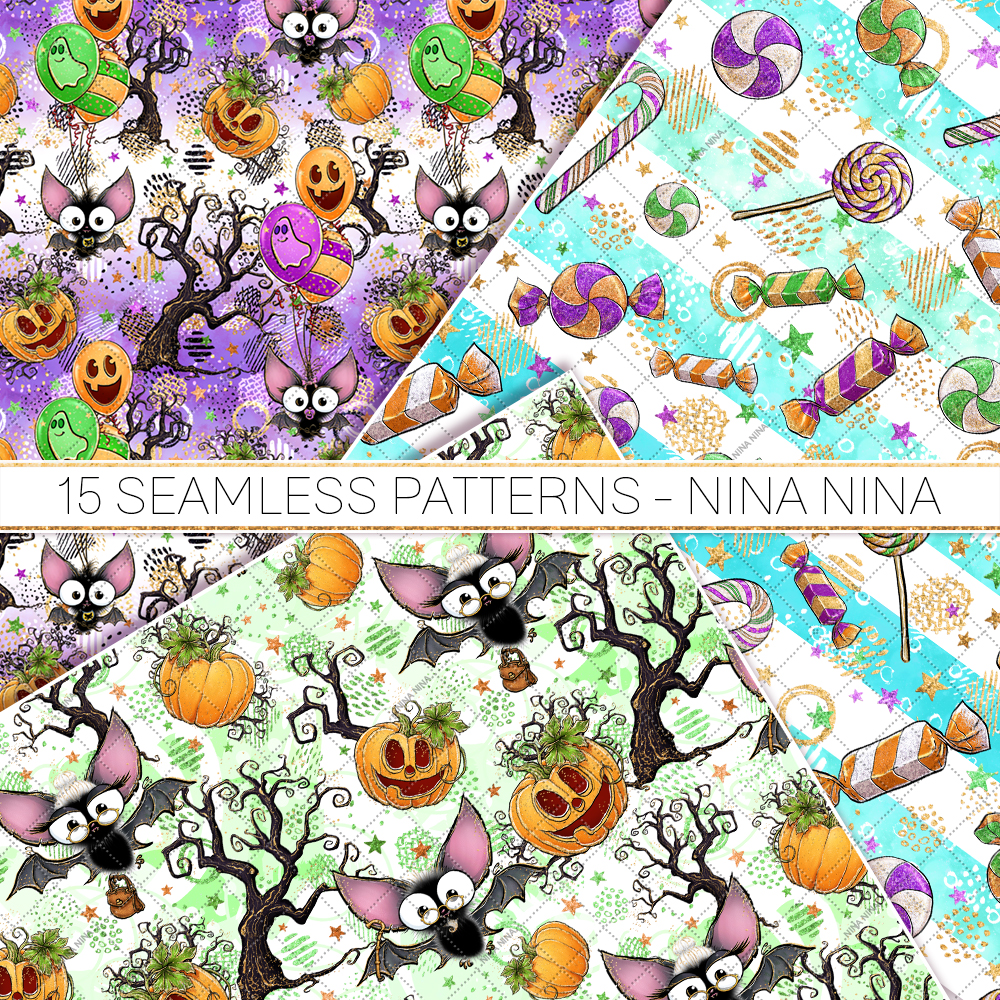 Cute Halloween Seamless Patterns, Bats Digital Papers Pack example image 5