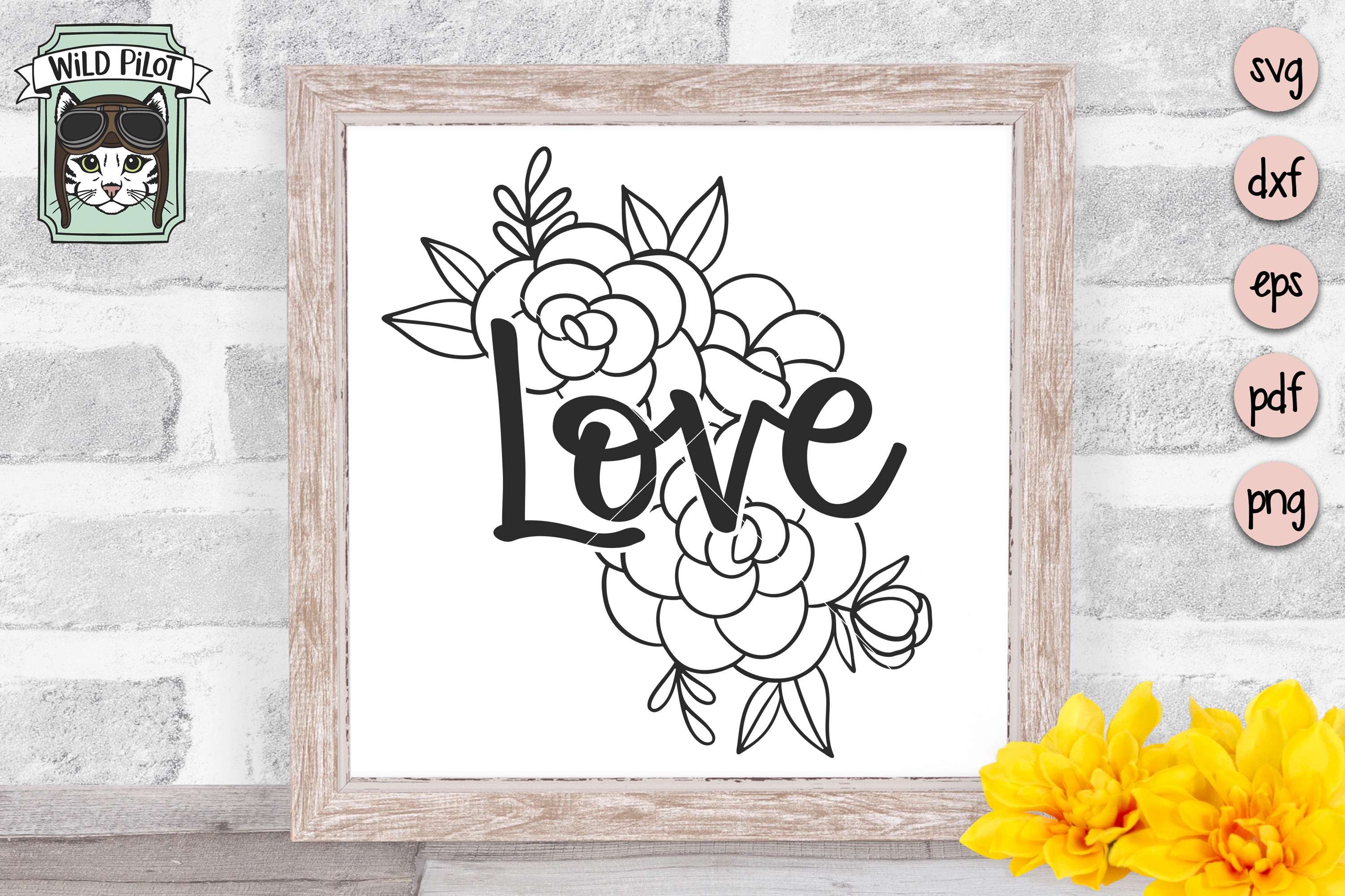 Love SVG file, Love cut file, Flowers, Floral example image 3