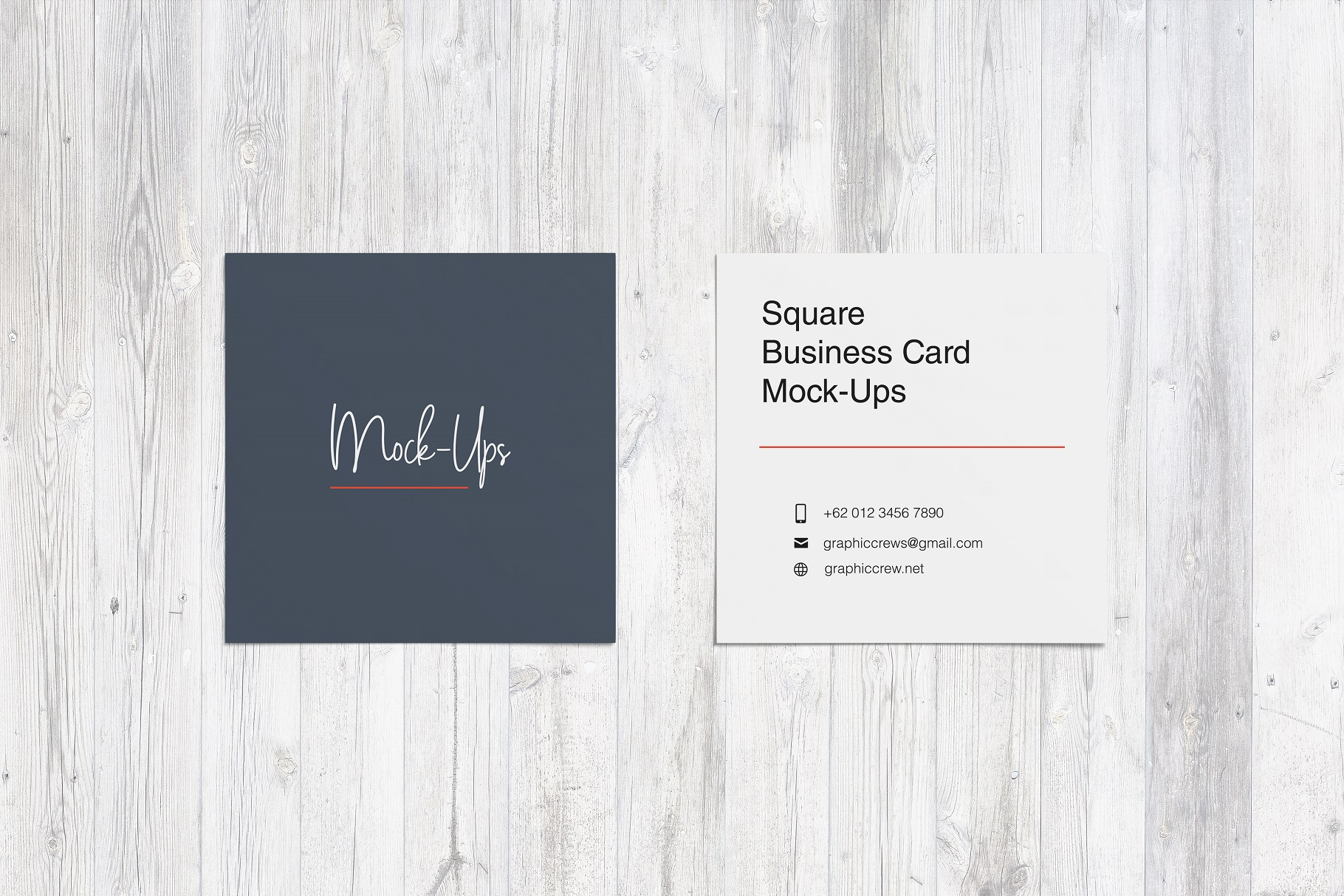 Square Business Card Mockup example image 2