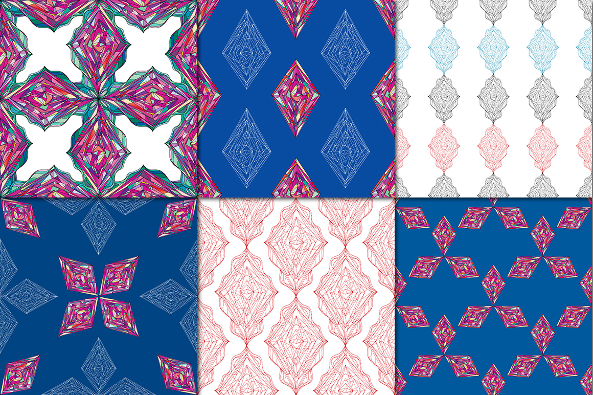 Ornaments diamonds patterns collection. example image 5