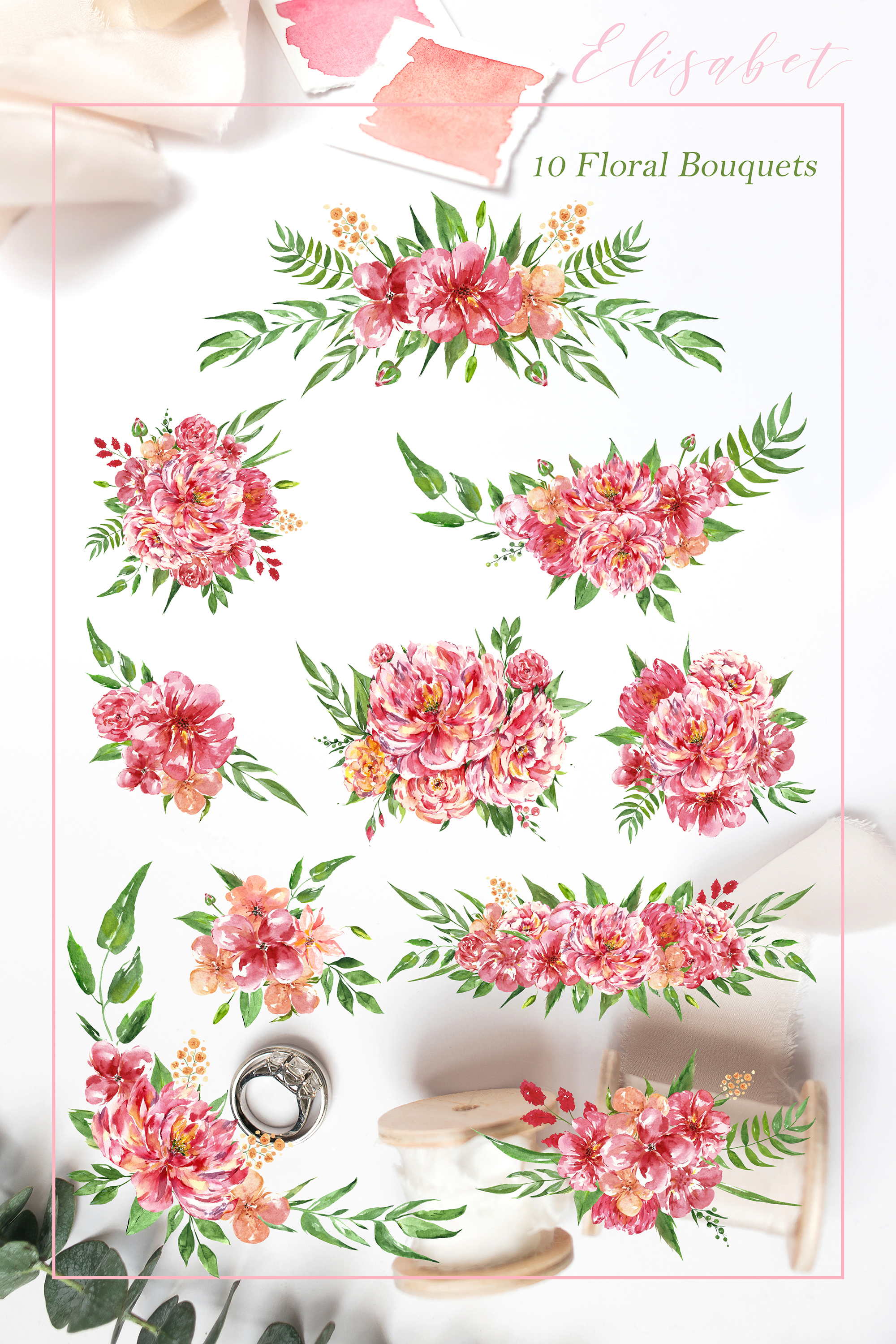Watercolor pink flowers Clip Art example image 5