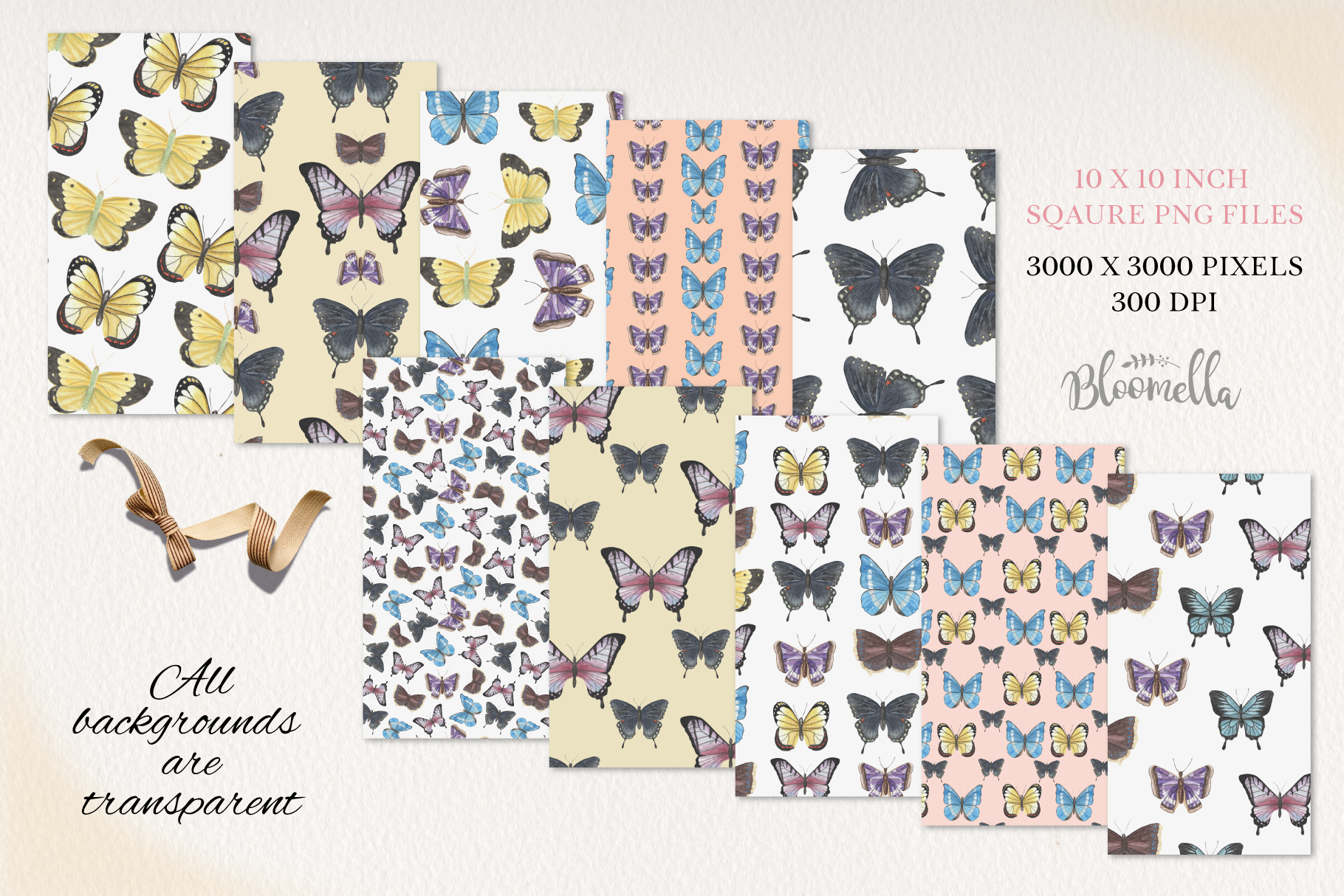 Butterfly Seamless Patterns Digital Papers Butterflies example image 2