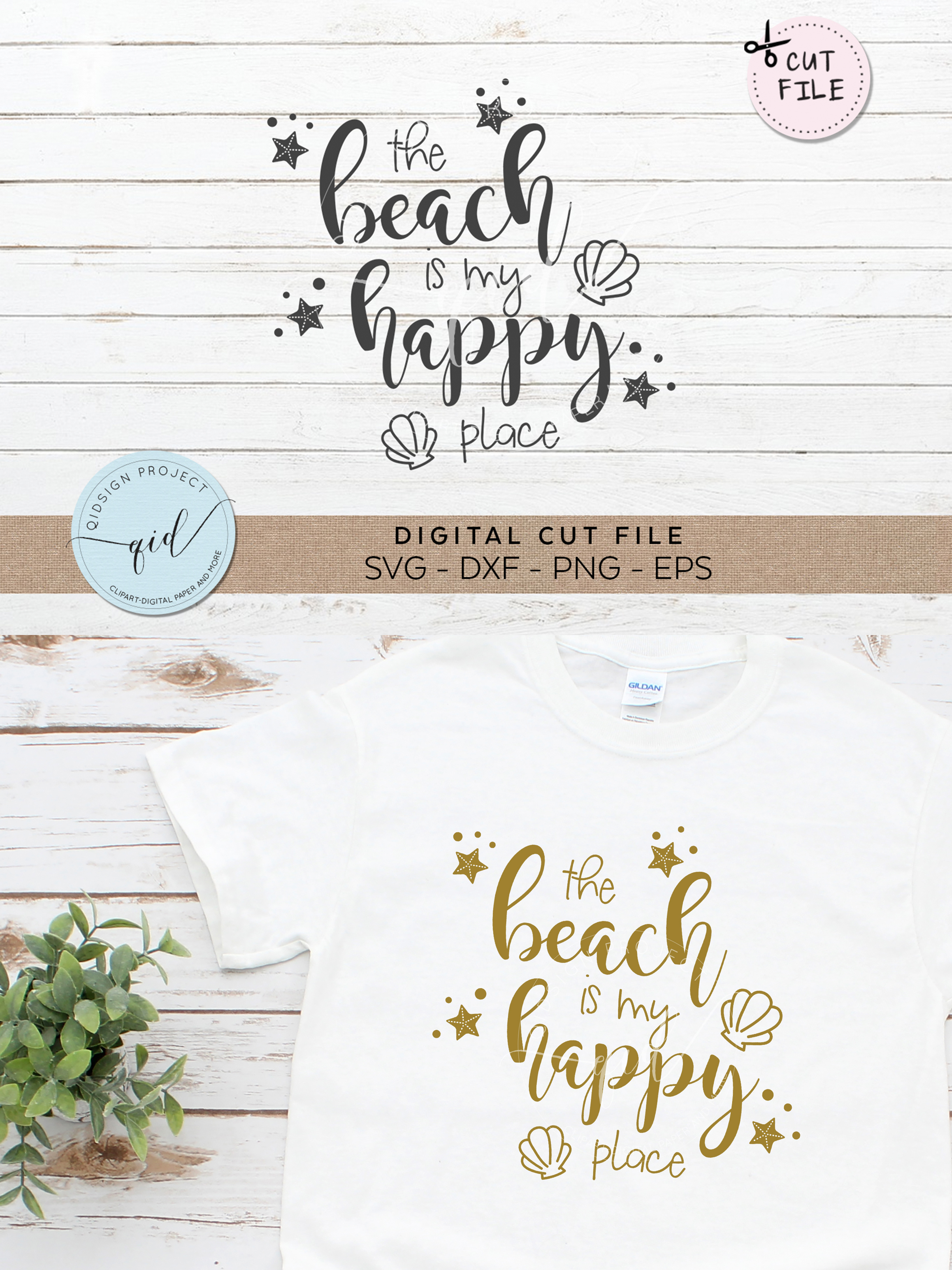 The Beach Is My Happy Place SVG DXF PNG EPS example image 2