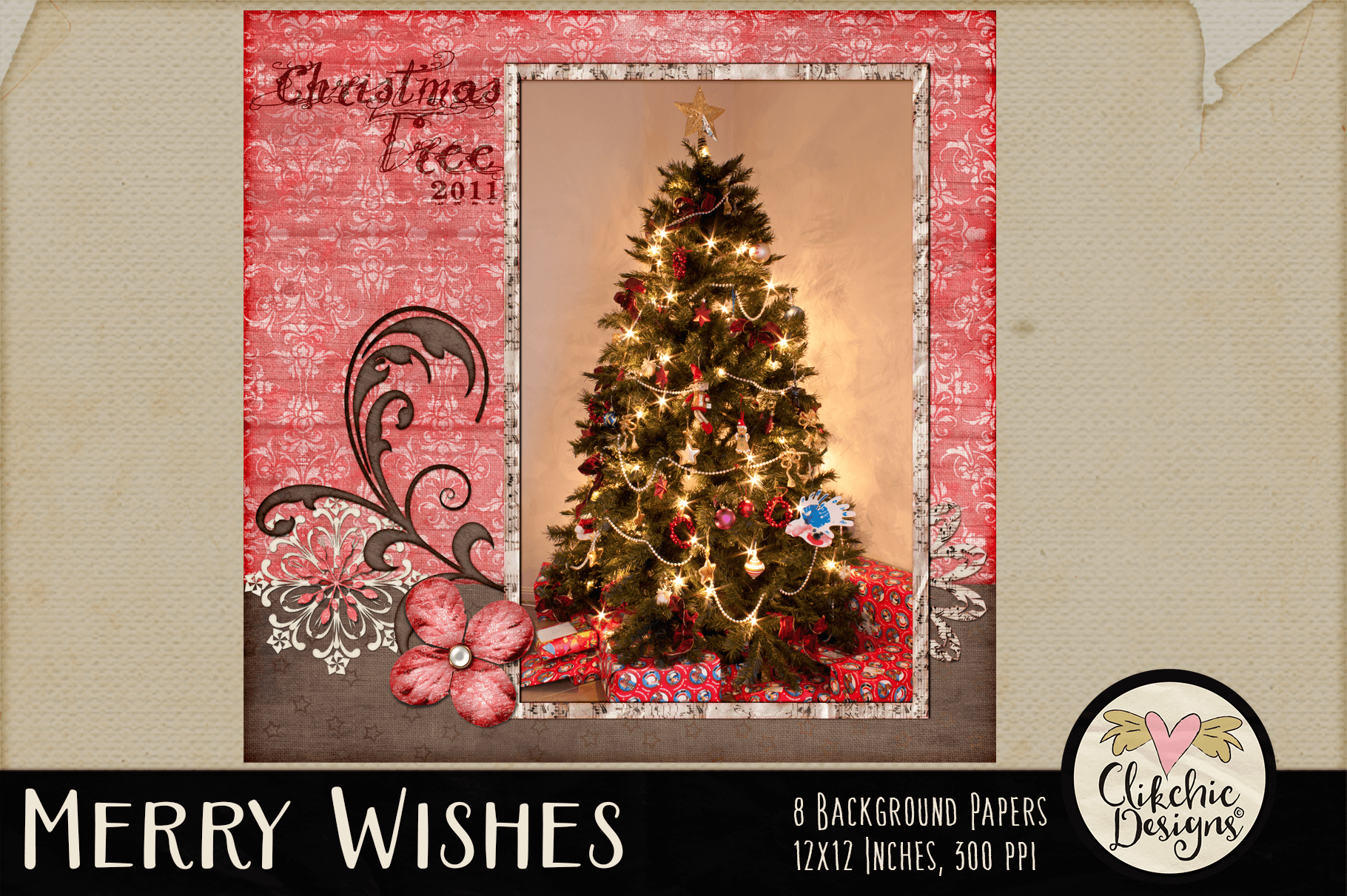 Christmas Backgrounds - Merry Wishes Digital Papers Textures example image 9