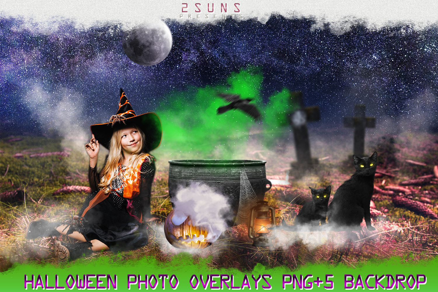 Halloween overlays, Pumpkin, Raven, Cat, Spider, Backdrop example image 1