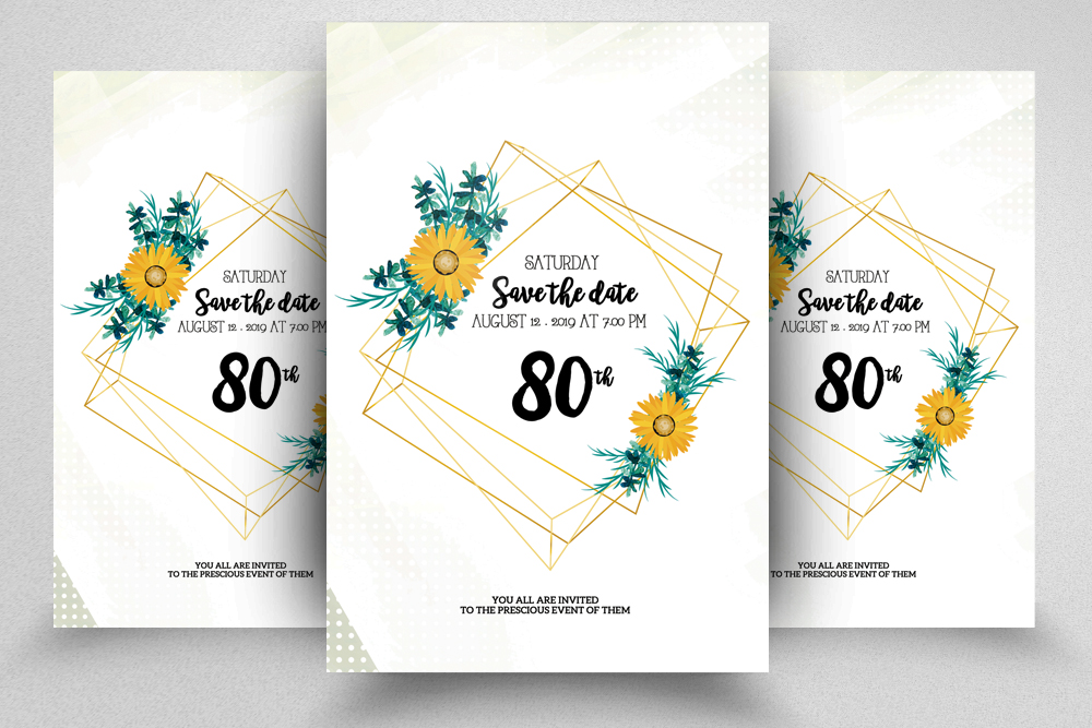 4 Floral Wedding Invitation Flyers Bundle example image 3