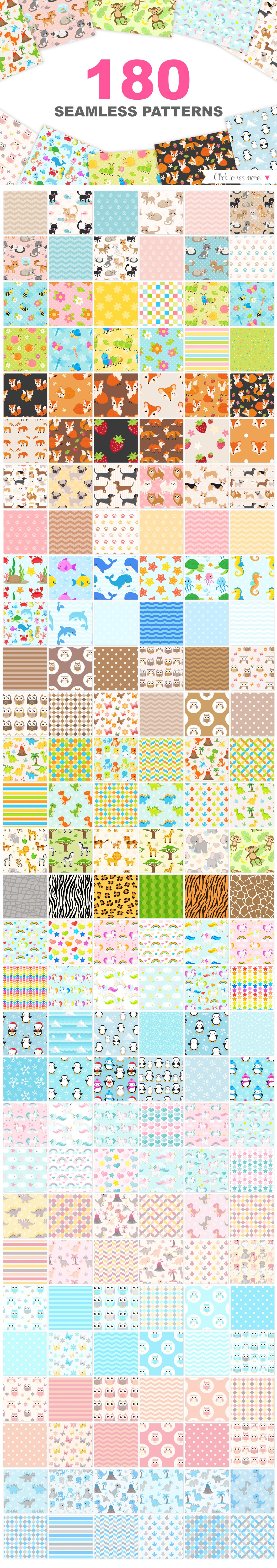 Cute Baby Animals Clip art Graphics and Digital Papers Patterns Bundle example image 3