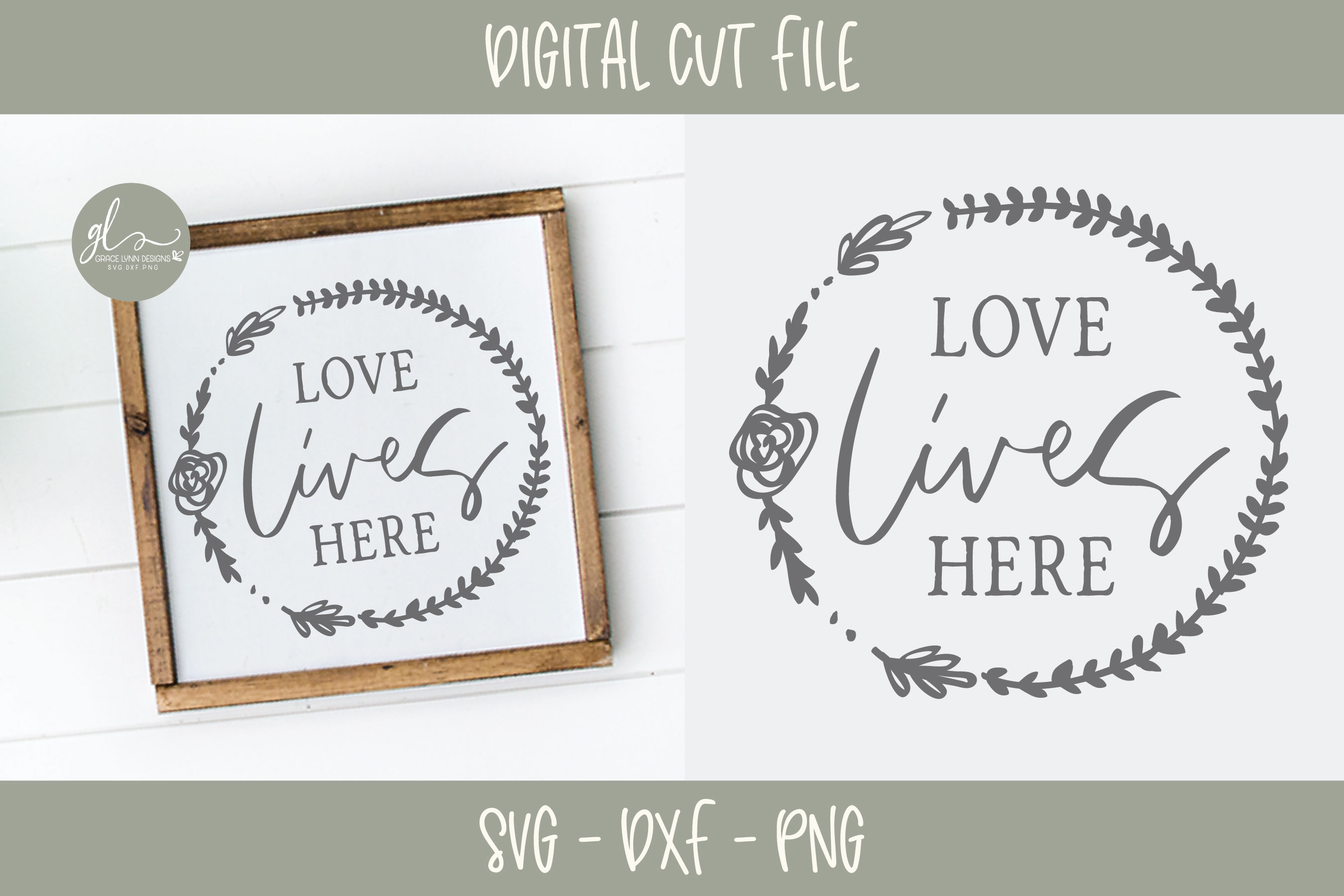 Love Lives Here - SVG Cut File example image 1