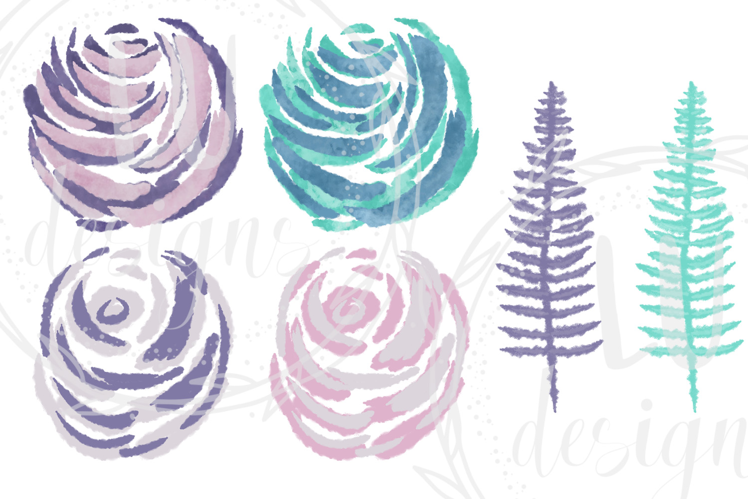 Winter Flowers Clipart, Watercolor Floral Winter Graphics example image 3