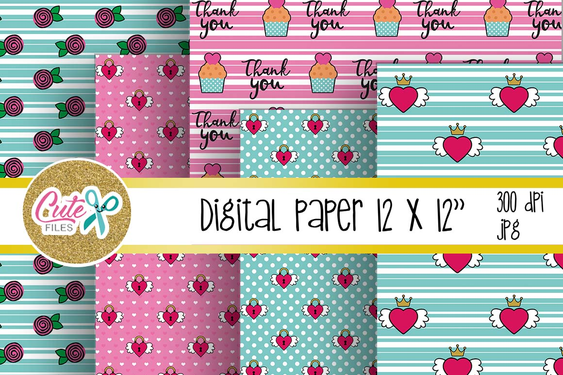 Digital papers valentines day and Printable Cards example image 2